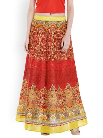 Fusion Beats Red Printed Flared Maxi Skirt Fusion Beats Skirts at myntra