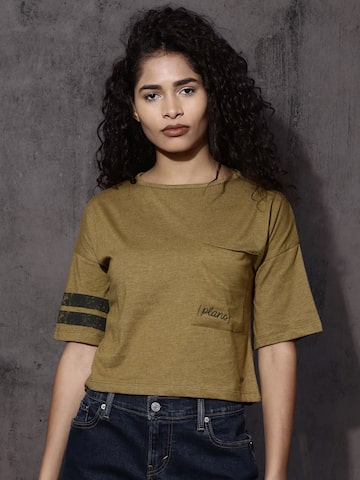 Roadster Women Olive Green Solid Round Neck Crop T-shirt Roadster Tshirts at myntra