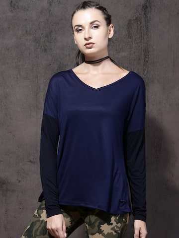 Roadster Women Navy Blue Solid Top Roadster Tops at myntra