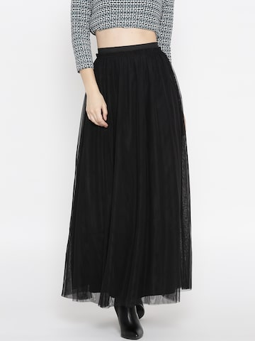ONLY Black Net Maxi Skirt ONLY Skirts at myntra