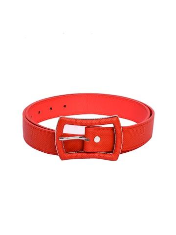BuckleUp Women Red Textured Belt BuckleUp Belts at myntra