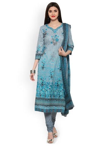 Inddus Blue & Grey Cotton Blend Printed Unstitched Dress Material with Embroidery Inddus Dress Material at myntra