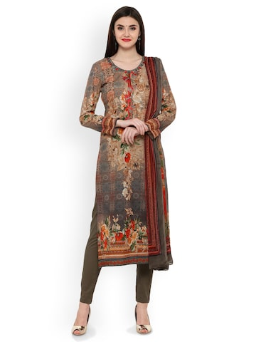 Inddus Brown & Grey Cotton Blend Floral Print Unstitched Dress Material with Embroidery Inddus Dress Material at myntra
