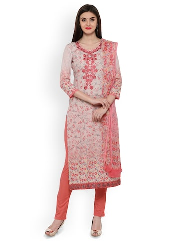 Inddus Cream & Pink Cotton Blend Printed Unstitched Dress Material with Embroidery Inddus Dress Material at myntra