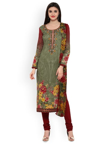 Inddus Green & Maroon Cotton Blend Printed Unstitched Dress Material with Embroidery Inddus Dress Material at myntra