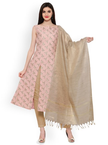 Inddus Pink & Beige Art Silk Jacquard Unstitched Dress Material Inddus Dress Material at myntra