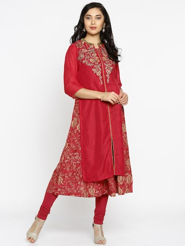 Biba Women Red Embroidered A-Line Kurta Biba Kurtas at myntra