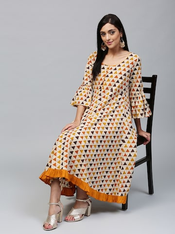 AKS Women Off-White & Yellow Printed Anarkali Kurta AKS Kurtas at myntra