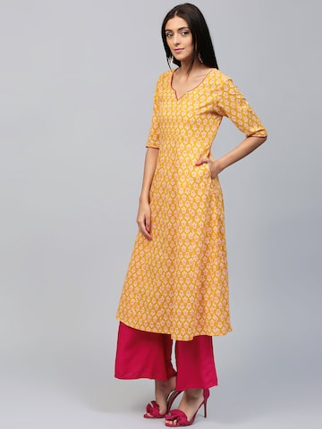 AKS Women Yellow Printed A-Line Kurta AKS Kurtas at myntra