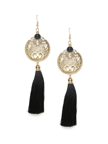 Golden Peacock Gold-Toned & Black Tassel Drop Earrings Golden Peacock Earrings at myntra