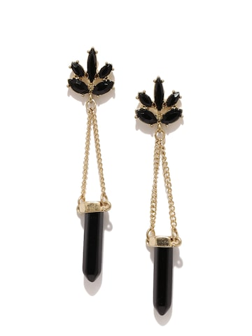 Golden Peacock Black & Gold-Plated Drop Earrings Golden Peacock Earrings at myntra