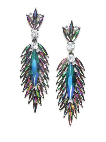 Golden Peacock Multicoloured Contemporary Drop Earrings Golden Peacock Earrings at myntra