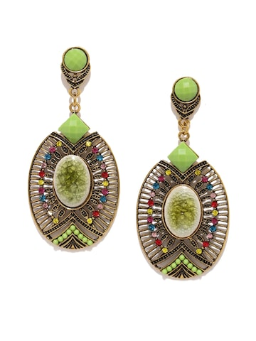 Golden Peacock Multicoloured Antique Gold-Plated Oval Drop Earrings Golden Peacock Earrings at myntra