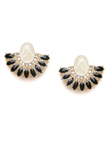 Golden Peacock Off-White & Black Crescent Shaped Studs Golden Peacock Earrings at myntra