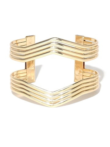 Golden Peacock Gold-Plated Cut-Out Cuff Bracelet Golden Peacock Bracelet at myntra