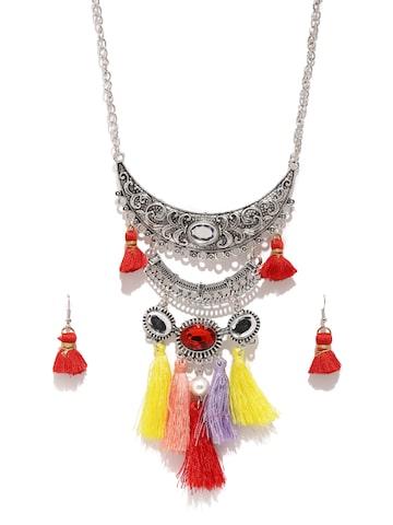 Golden Peacock Silver-Toned Tasseled Jewellery Set Golden Peacock Jewellery Set at myntra