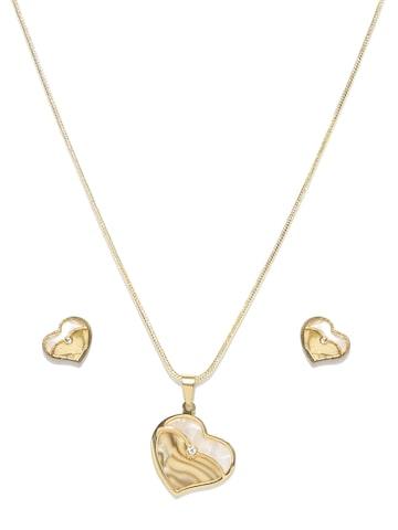 Golden Peacock Gold-Toned & Beige Heart-Shaped Jewellery Set Golden Peacock Jewellery Set at myntra