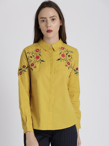 Chemistry Women Mustard Yellow Regular Fit Self Design Casual Shirt Chemistry Shirts at myntra