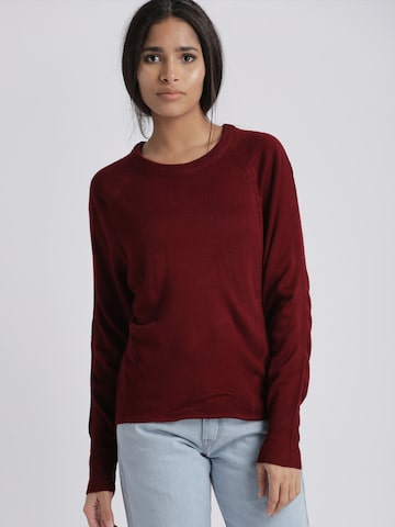 Chemistry Women Maroon Solid Pullover Chemistry Sweaters at myntra