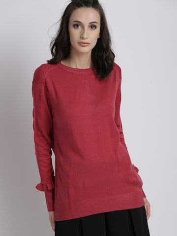 Chemistry Women Pink Solid Pullover Chemistry Sweaters at myntra