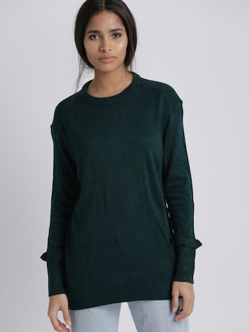 Chemistry Women Teal Green Solid Pullover Chemistry Sweaters at myntra