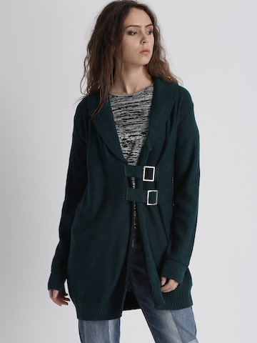 Chemistry Women Teal Solid Cardigan Chemistry Sweaters at myntra