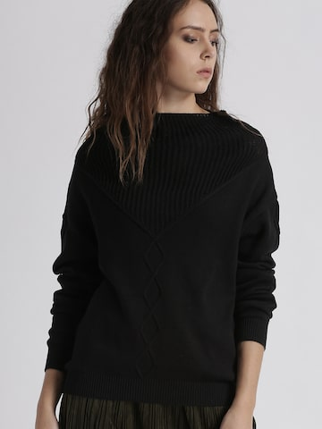 Chemistry Women Black Self Design Pullover Chemistry Sweaters at myntra