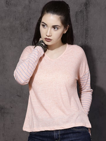 Roadster Women Peach-Coloured Solid Top Roadster Tops at myntra