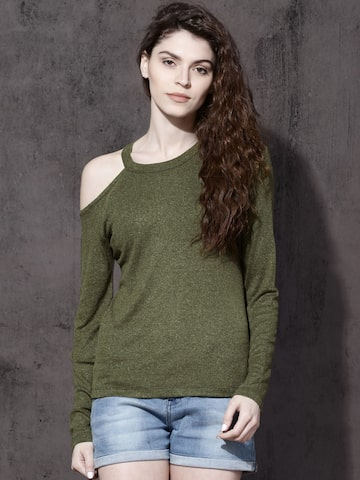 Roadster Women Olive Green Solid Round Neck T-shirt Roadster Tshirts at myntra