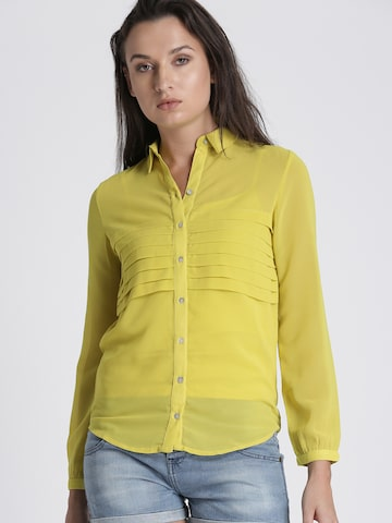 Chemistry Women Yellow Regular Fit Solid Casual Shirt Chemistry Shirts at myntra