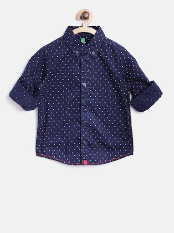 United Colors of Benetton Boys Navy Printed Casual Shirt United Colors of Benetton Shirts at myntra