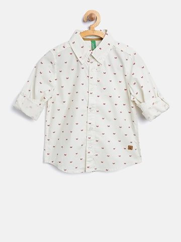 United Colors of Benetton Boys Cream-Coloured Printed Casual Shirt United Colors of Benetton Shirts at myntra
