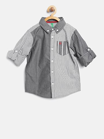 United Colors of Benetton Boys Grey & White Striped Casual Shirt United Colors of Benetton Shirts at myntra