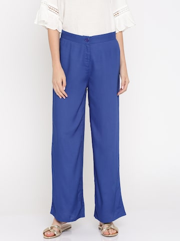 Global Desi Women Blue Relaxed Loose Fit Solid Parallel Trousers Global Desi Trousers at myntra