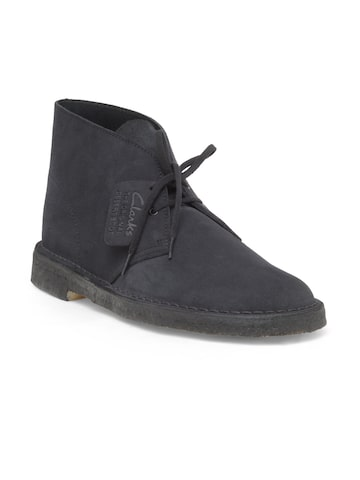 Clarks Men Navy Solid Suede Mid-Top Desert Boots Clarks Casual Shoes at myntra