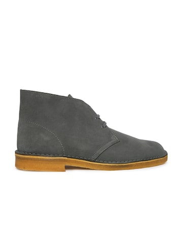 Clarks Men Grey Solid Leather Mid-Top Suede Flat Boots Clarks Casual Shoes at myntra