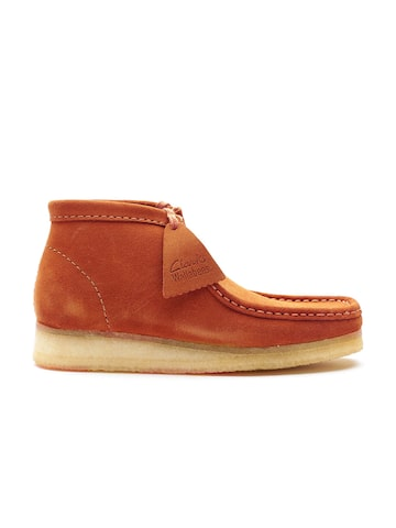 Clarks Men Rust Brown Solid Suede Mid-Top Flat Boots Clarks Casual Shoes at myntra