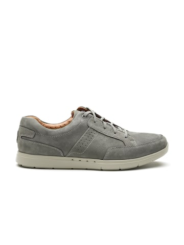 Clarks Men Grey Nubuck Leather Sneakers Clarks Casual Shoes at myntra