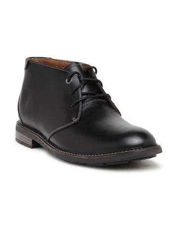 Clarks Men Black Solid Leather Mid-Top Derbys Clarks Casual Shoes at myntra