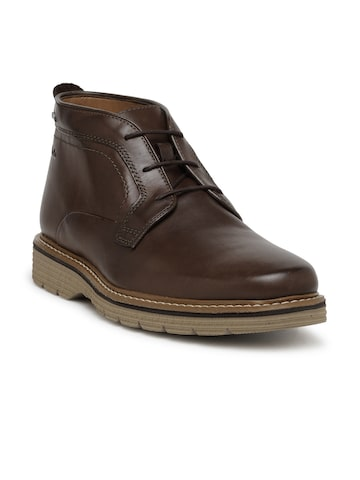 Clarks Men Brown Solid Leather Mid-Top Flat Boots Clarks Casual Shoes at myntra
