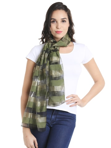 Noi Olive Green & Gold-Tone Striped Scarf Noi Scarves at myntra