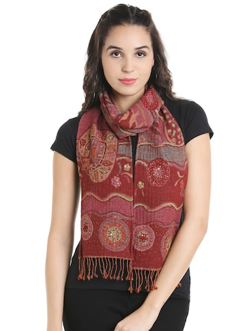 Noi Maroon Patterned Woollen Scarf Noi Scarves at myntra