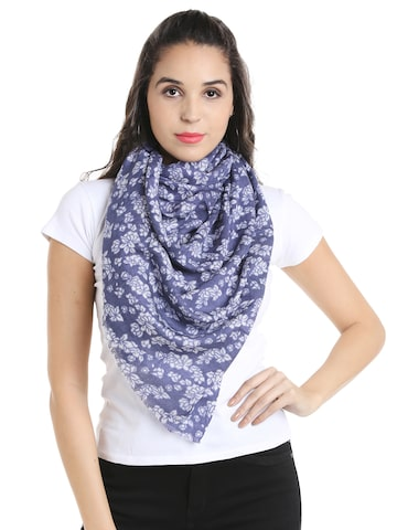 Noi Blue Printed Scarf Noi Scarves at myntra