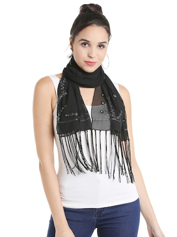 Noi Black Embroidered Scarf Noi Scarves at myntra