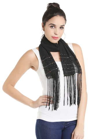 Noi Black Embellished Scarf Noi Scarves at myntra
