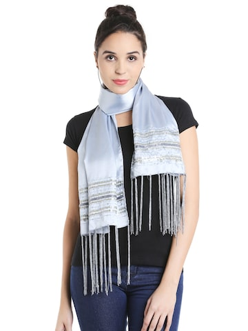 Noi Blue Sequinned Scarf Noi Scarves at myntra