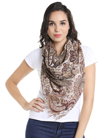 Noi Cream-Coloured & Brown Printed Scarf Noi Scarves at myntra