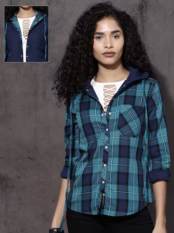 Roadster Women Teal Blue Regular Fit Checked Reversible Hooded Casual Shirt Roadster Shirts at myntra