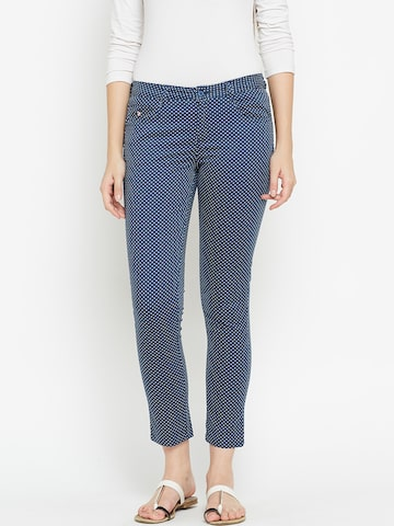 U.S. Polo Assn. Women Women Navy & White Skinny Fit Printed Casual Trousers U.S. Polo Assn. Women Trousers at myntra