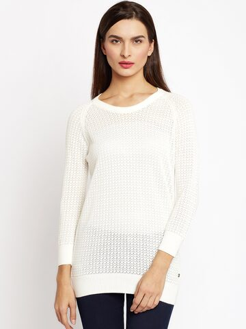 U.S. Polo Assn. Women Off-White Self-Design Pullover U.S. Polo Assn. Women Sweaters at myntra